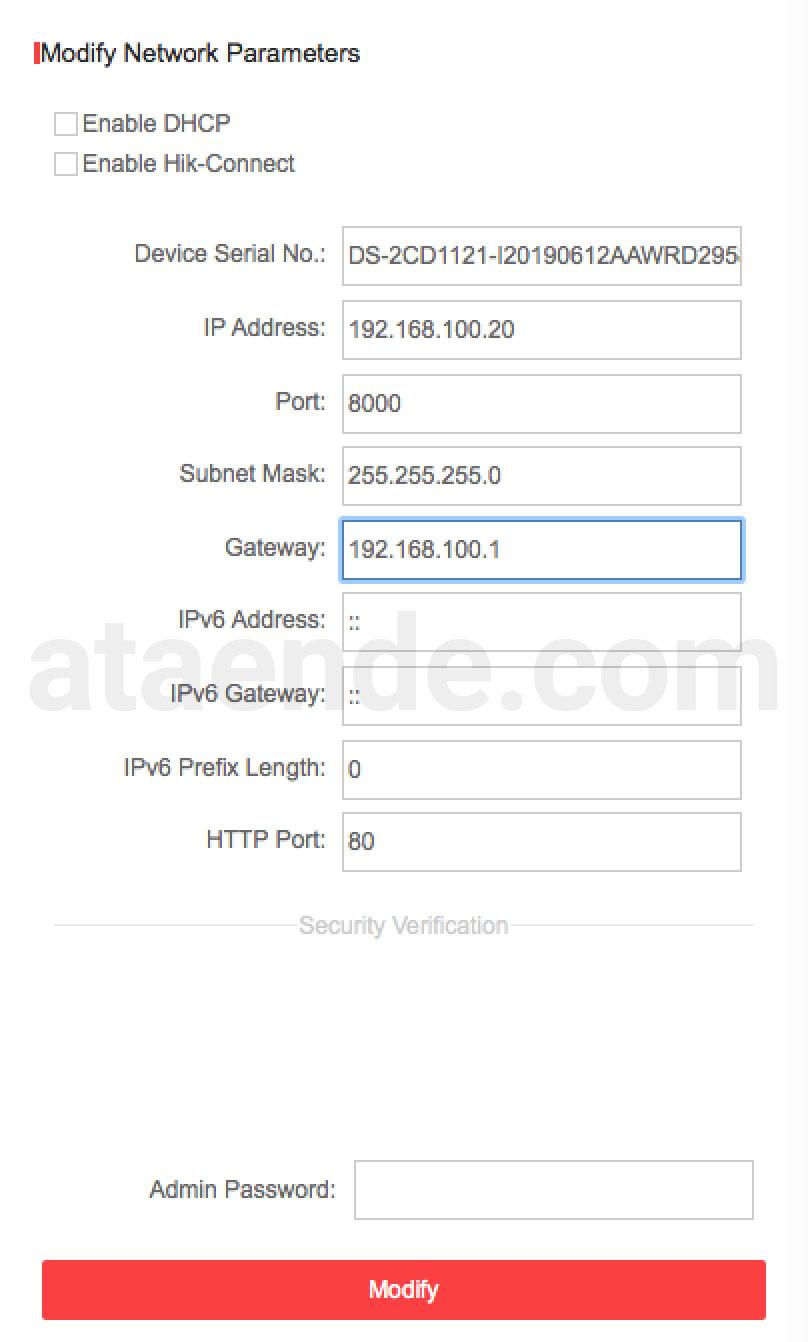 setting network ip camera