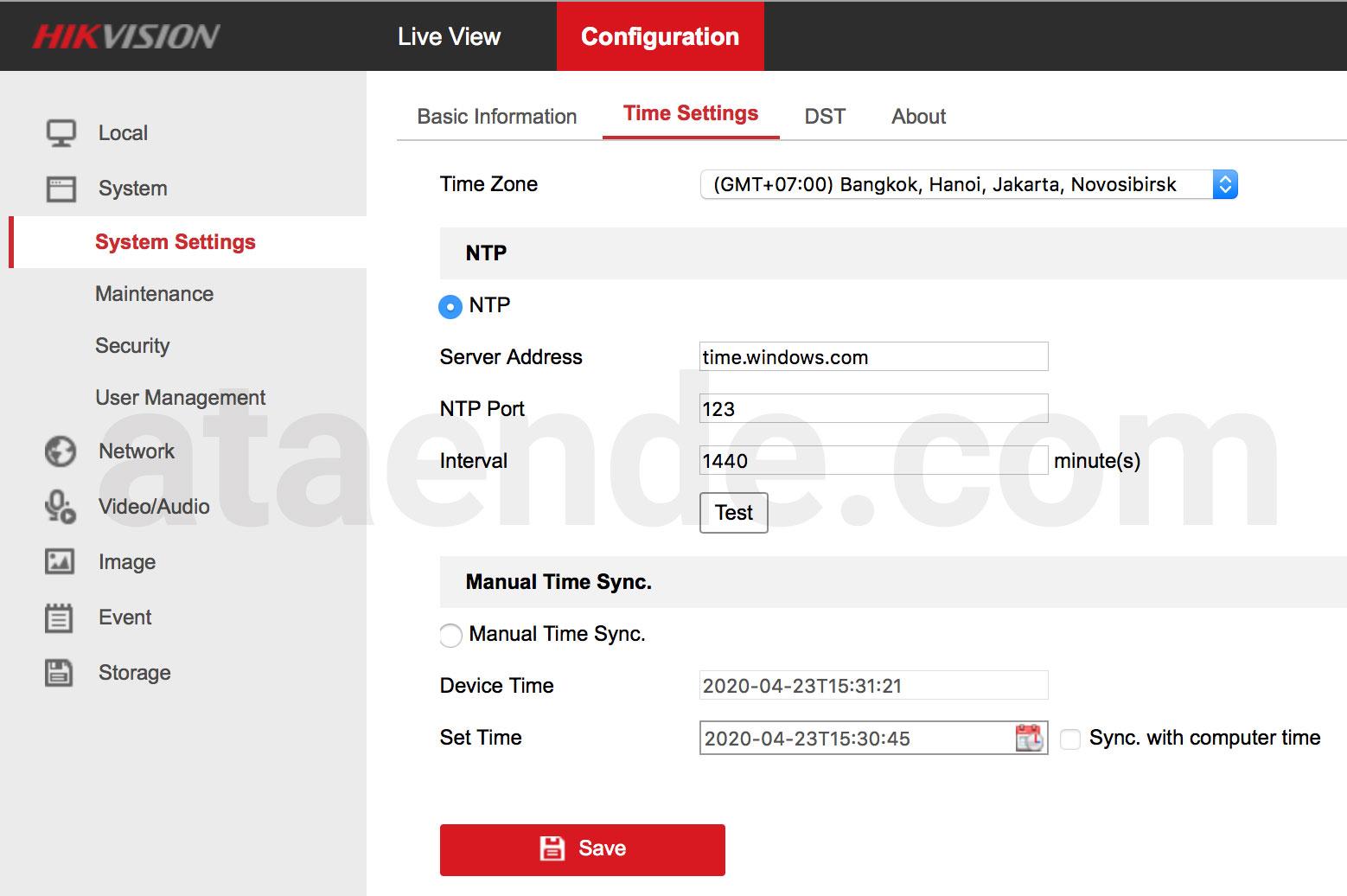 konfigurasi tanggal dan waktu ip camera hikvision