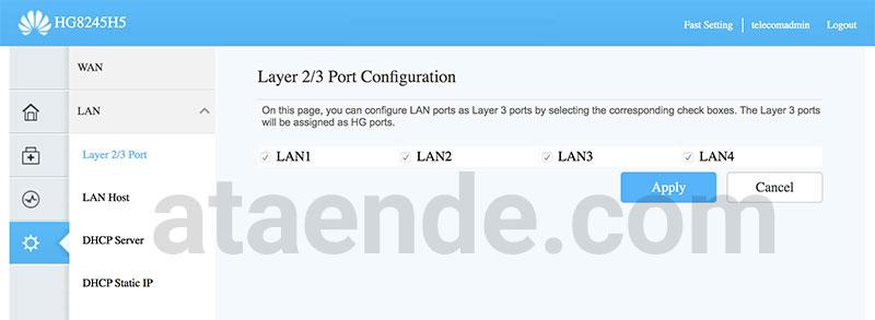 HG8245H5 LAN 2/3 Port Configuration
